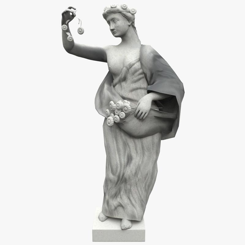 flower girl statue 3d