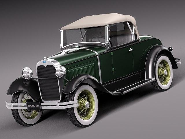 3d model classic antique roadster 1929
