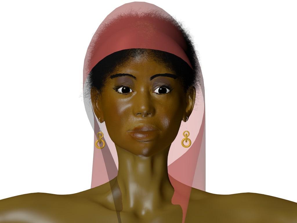 character gown veil 3d model