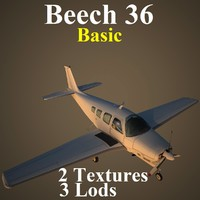 beech 36 basic aircraft 3d model