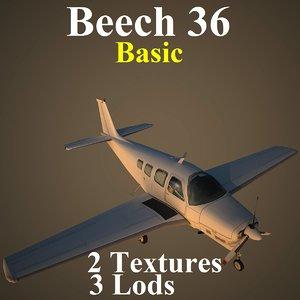 beech 36 basic aircraft 3d model