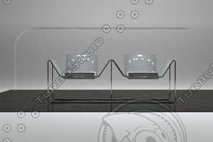 metal chair 3d 3ds