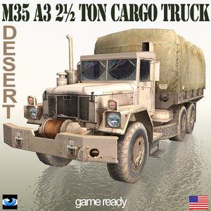 3ds max military truck desert m35