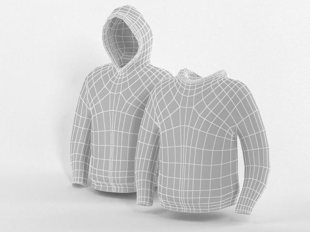 3d model hooded sweater base mesh