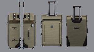 3d wheeled suitcase model