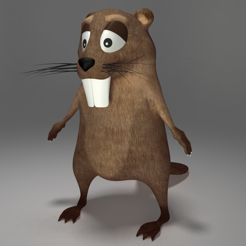 beaver cartoon 3d model