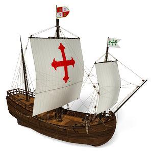 caravel sails ship 3d model