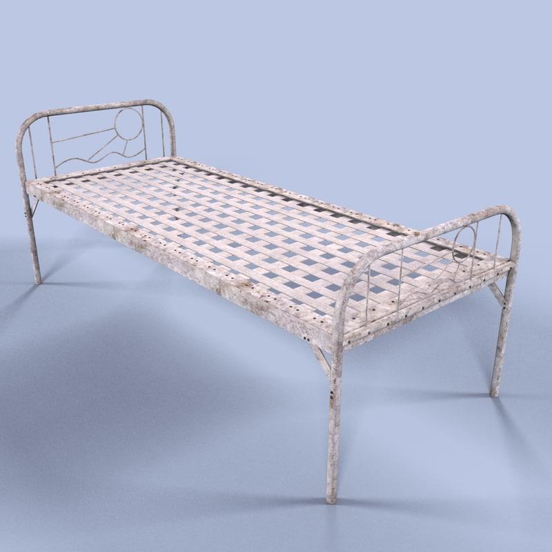 metal bed obj