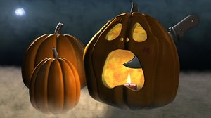 3d halloween jack-o-lantern scene model