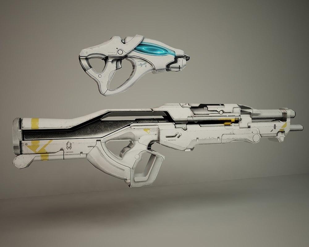 sniper automatic 3d c4d