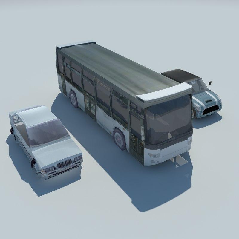 bus cars 3d model