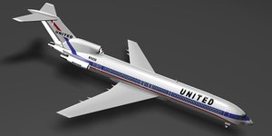 3d model united airlines 727-222 727