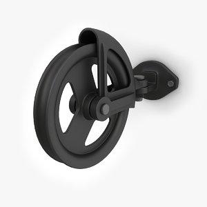 wall mounted retro pulley 3d fbx