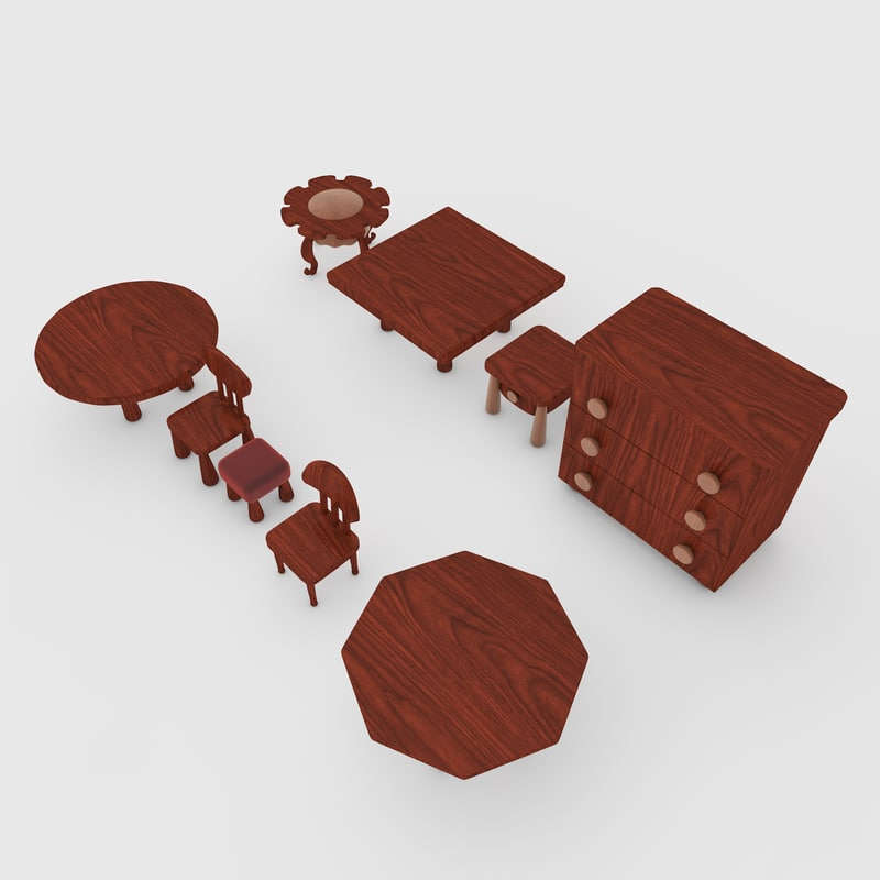 set tables drawers chairs 3d obj
