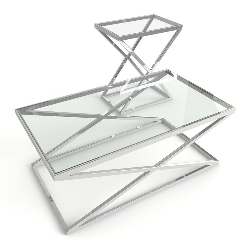 coffee table criss cross 3d model