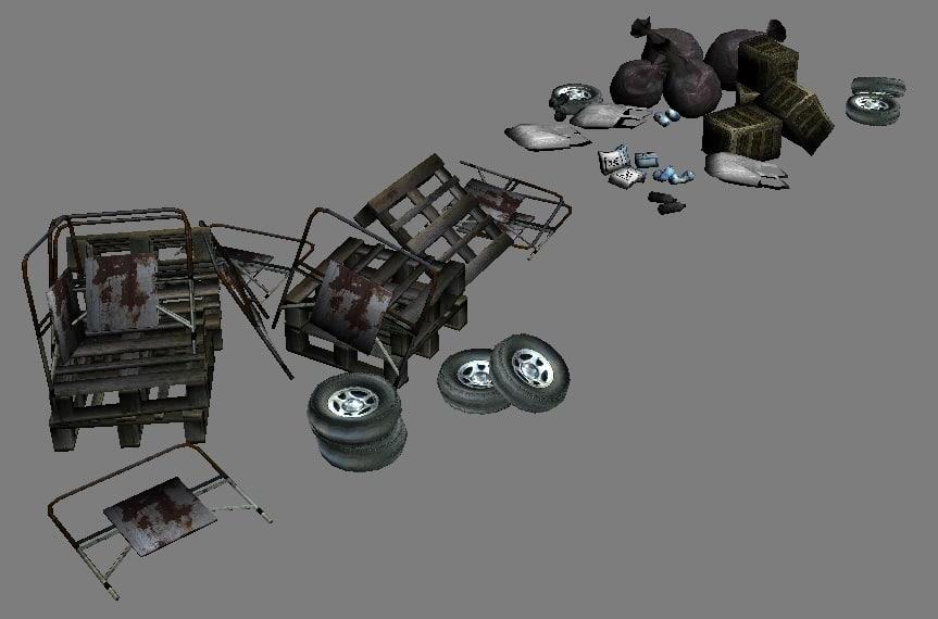 3d model garbage urban