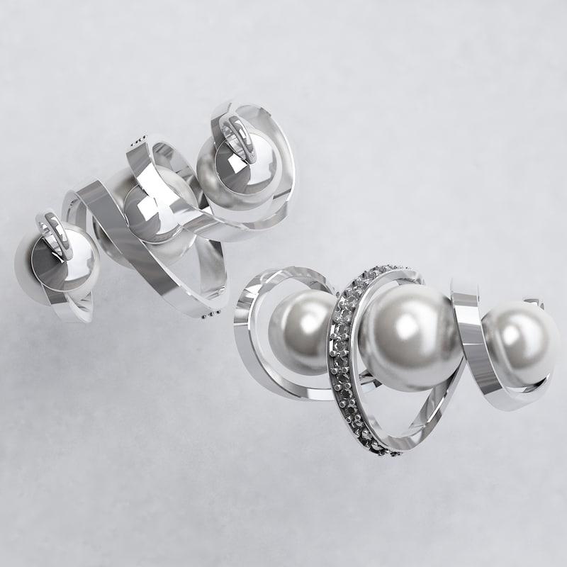 pendant 3 pearls 3d max