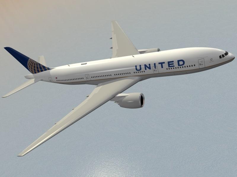 3d model of boeing 777-200 er airliner