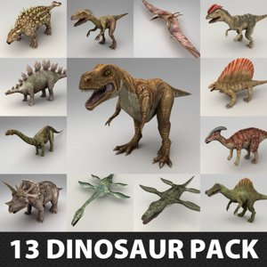 3d model of 13 dinosaur rigged pack
