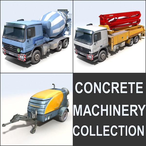 3d model concrete pumper mixer