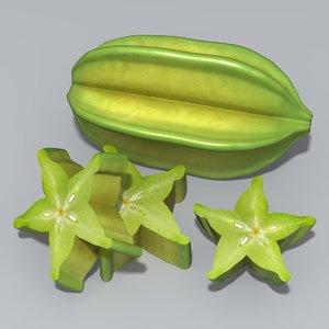 3ds max carambola starfruit fruit