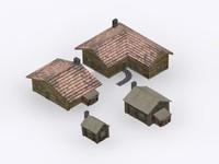 3d model wood houses