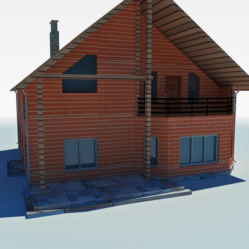 3d model low-poly cottage