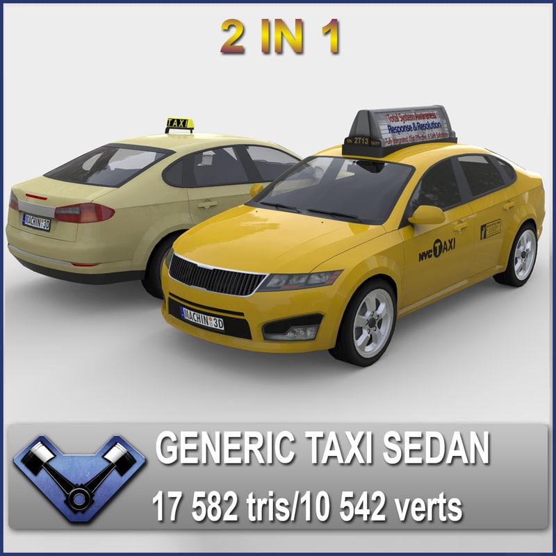 generic sedan madeon taxi 3d obj