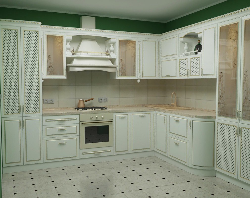 3d model of classical kitchen