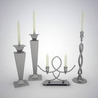 set candle holders 3ds