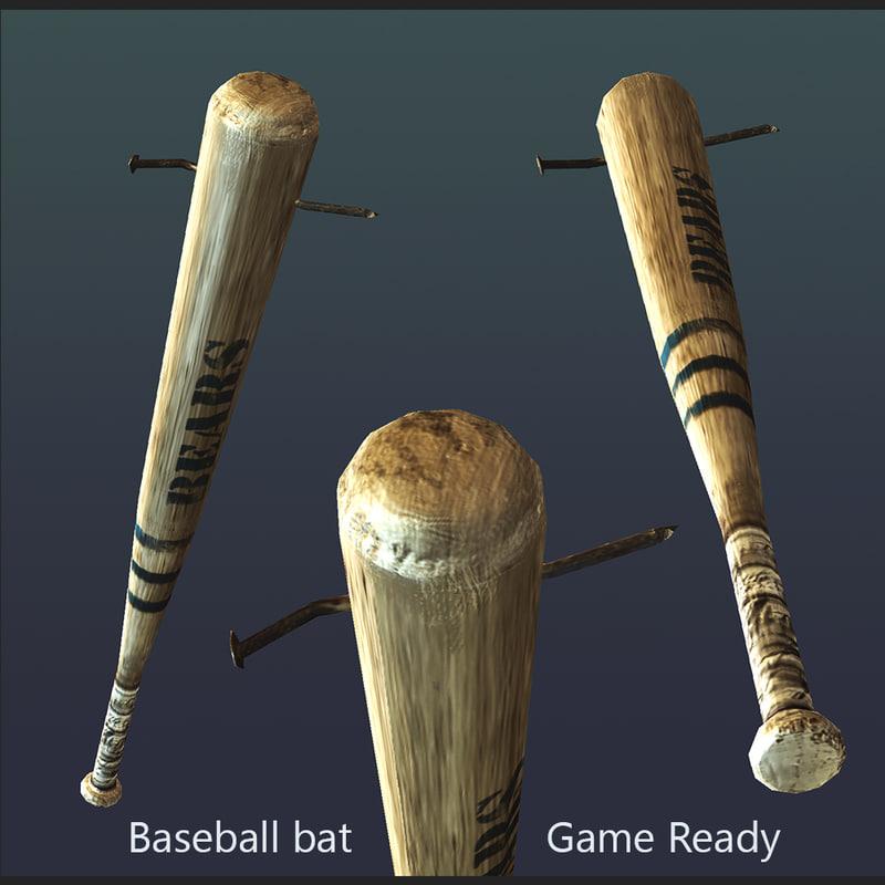 3d baseball bat nail