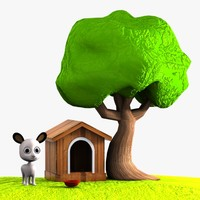 Cartoon Dog, Doghouse and Tree