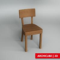 wooden chair obj
