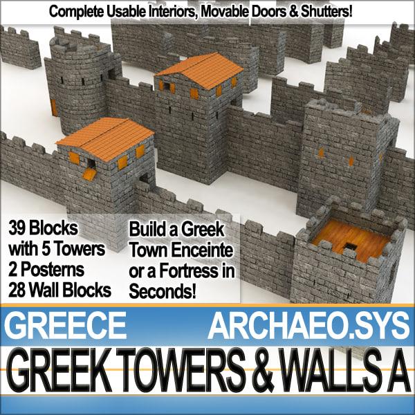 ancient greek towers walls obj