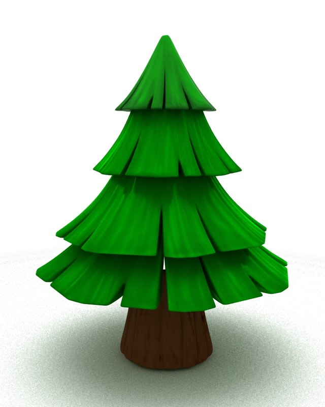 simple cartoon fir tree 3d model