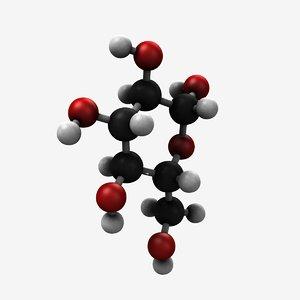 3d model of glucose molecule