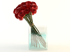 red roses bouquet 3d max