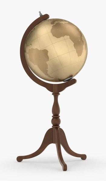globe stand wood obj