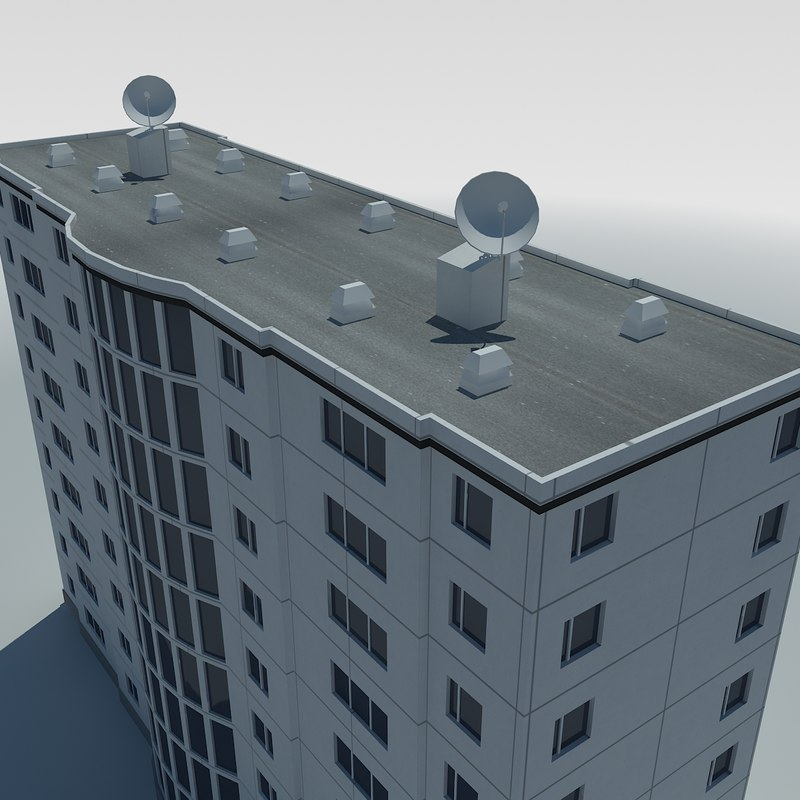 low-poly condo building 3d 3ds