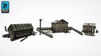 3d model wooden buildings