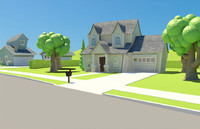 3d cartoon neighborhood houses model