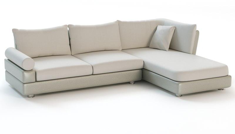 3d corner sofa chaise model