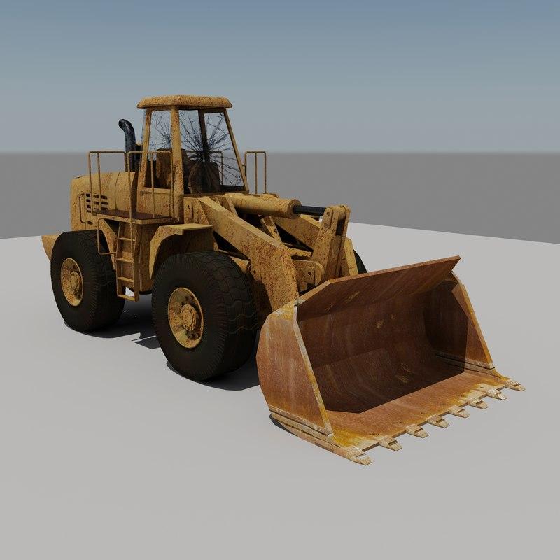 3d old rusty end loader model