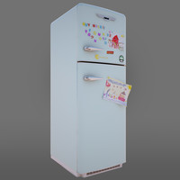 3d retro vintage fridge