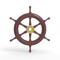 3d wooden ship wheel