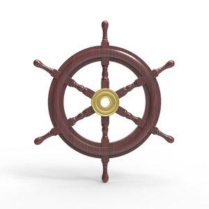 3d wooden ship wheel