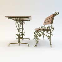 Wrought-iron bench and table