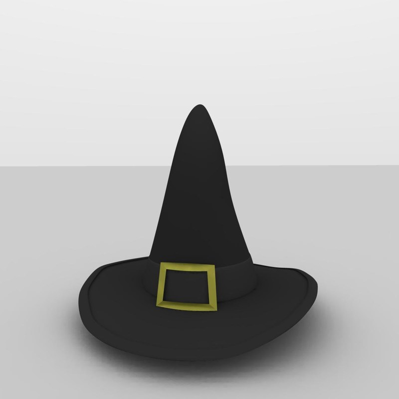 free classic halloween witch hat 3d model