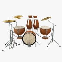 3d model drum set kit percussion