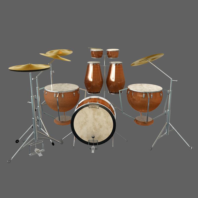 3d model drum set kit percussion